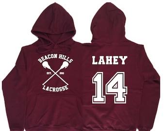 58c8fb27aa Beacon Hills Lacrosse Hoodie Teen wolf Maroon Hoodie Lahey 14 Unisex Hoodie