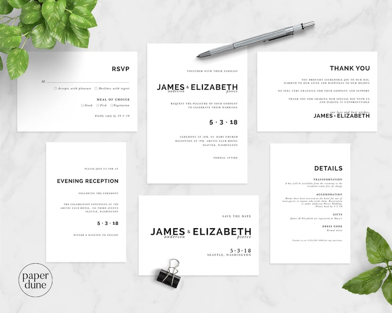 Wedding Suite,Black /& White,Save The Date Minimal Wedding Printable Wedding Invitation Minimal Wedding Invitation Set Wedding Stationery