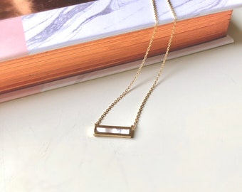Opal bar gold Necklace, Mother's day gift, Handmade, birthday gift