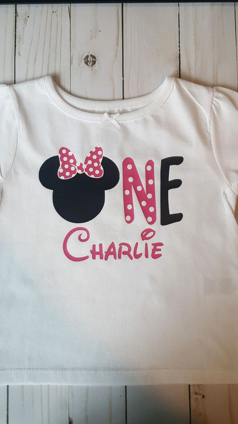 c65ba6e874b Minnie Mouse 1st or 2nd Birthday Shirt   Etsy