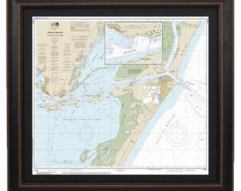 Framed Nautical Map 11312- Corpus Christi Bay; Port Aransas to Post Ingleside; Nautical Gifts & Beach Home Decor. Free Shipping!*