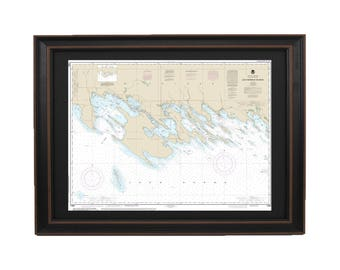 Framed Nautical Chart; Les Cheneaux Islands, Lake Huron, Michigan NOAA 14885