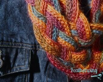 Double Braid Cowl, Braided Crochet Cowl, Jewel Scarf