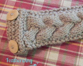 Braided Cable Headband, Braided Cable Earwarmer, Knitted Headband, Ladies Headband, Ladies Earwarmer, Knitted Braid Earwarmer, Button Braid