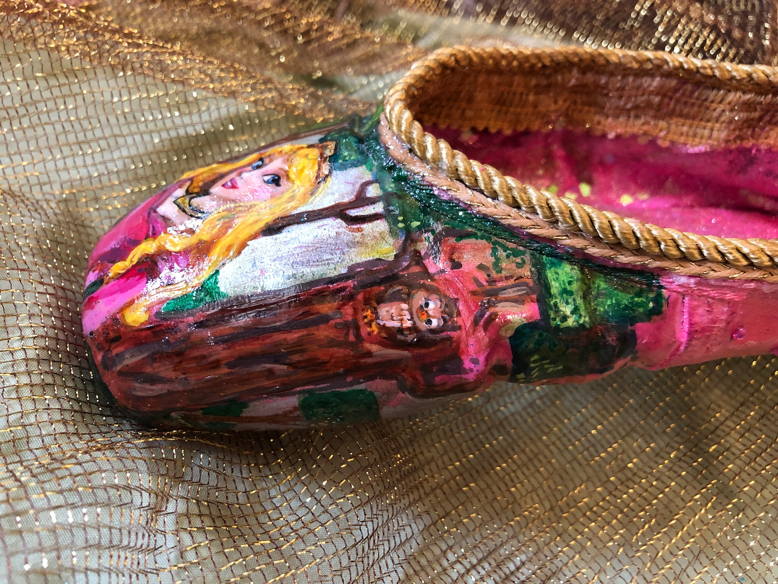 hand painted sleeping beauty ballet piont shoe