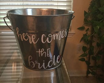 Here comes the bride flower girl basket, flower tin pail, rustic wedding, chic wedding, country wedding, outdoor wedding,  tin basket