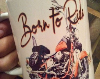 Born to ride motorcycle lover gift coffee mug