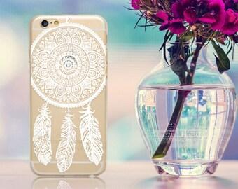 Henna Dreamcatcher Dream Catcher Mandala White Tribal Clear Hard Soft Gel TPU Phone Case Cover for iPhone 5 5S SE 6 6S 7 8 Plus