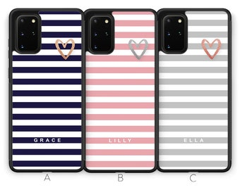 Personalised Heart Samsung Galaxy S21 Case S21 Plus Case S21 Ultra Case Samsung S21 Custom Love Pastel Initials Name Rubber Phone Case Blue