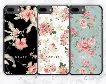 2f0f07d1578150 Personalised iPhone 8 Plus Case iPhone 7 Plus Case 6 Plus Case 6S Plus Case  Floral Flower Custom Initials Name Rubber Hard Soft TPU Silicone