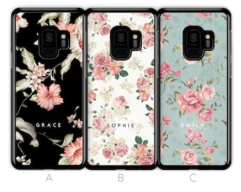 8b0a4123e3 Personalised Samsung Galaxy S9 Case S8 Case S9 Plus Case S8 Plus Case  Custom Floral Flower Initials Name Samsung Case Hard Phone Case Blue