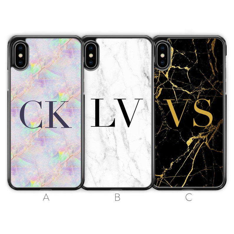 best service 4199c b3d19 Personalised iPhone X Case iPhone XS Case iPhone XS Max Case Marble  Monogram Initials Custom Name Gold Black Rubber Hard Soft TPU Silicone