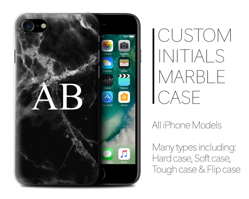 c3a07938043b8b Initials iPhone Case Personalised Marble Phone iPhone 8 Plus