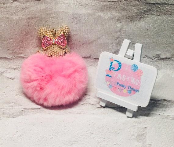 Pink Key Chain PomPom KeyRing PomPom Bag Charm Pink Bunny  d041e439254e