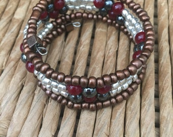 Memory Wire Cuff Bracelet / Beaded Silver / Red / Black Accents/ Boho Coil
