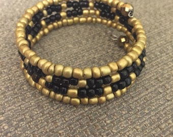 Golden Black Boho Cuff - Memory Wire Wrap Bracelet