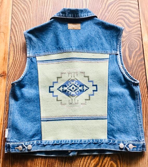 Pendleton Denim Vest>Women's Large, Native Style J