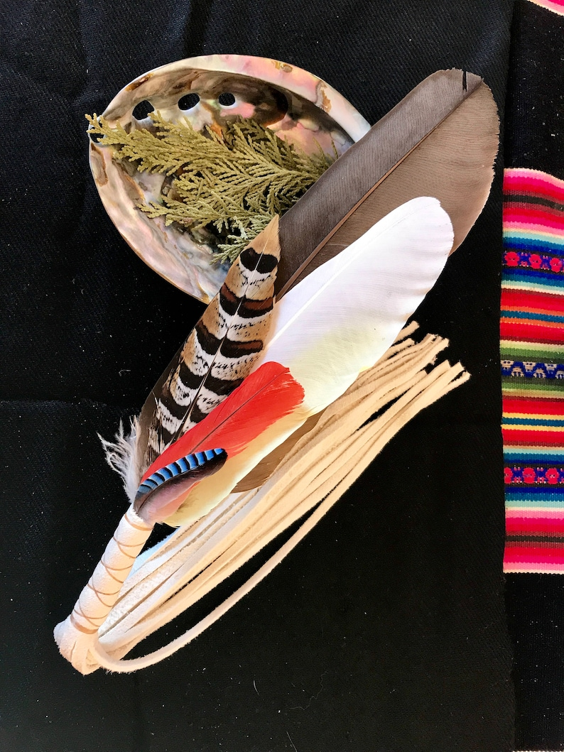 Healing Feather Fan>Energy Healing, Space Clearing, Prayer Fan, Sacred  Instrument, Ceremonial Tools, Healing Tool, Native Style Feather Fan