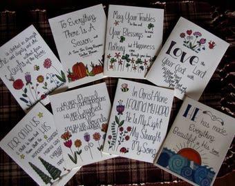 Secret Sister All Occasion Cards-8-Religious-Birthday-Fall-Christmas-Valentines-Easter-St Patricks-Summer-Reveal-Hand Designed/Lettered
