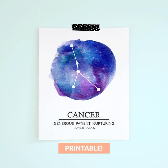 Cancer PRINTABLE Zodiac Constellation Watercolor Art Print, cancer gift,  galaxy wall art gift, horoscope june july birthday astrology