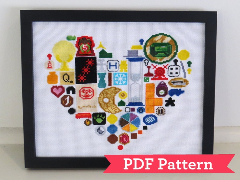 I Love Board Games Cross Stitch Digital PDF Pattern image 0