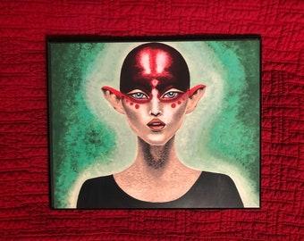 Hoag's Matriarch Art Print   Portrait   Alien Artwork   8x10   Fine Art   Wall Decor   Print Of Painting   Free Shipping