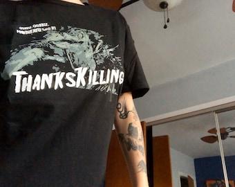Thankskilling Shirt - Killer Turkey TShirt - Campy Horror Tee - Free Shipping