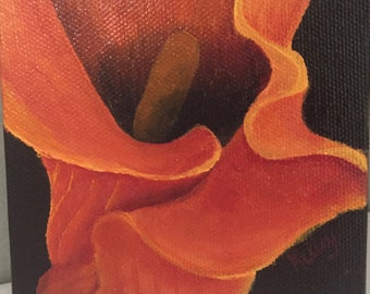 """4"""" x 4"""" Tiny Flower Oil Painting"""