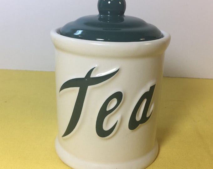 Vintage Himark Tea Canister, Ceramic Tea Can, Tea Canister made in Taiwan, White w/Green Lid Canister Jar, Kitchen Storage Apothecary