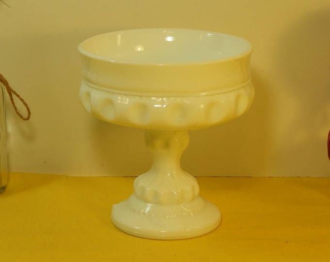 Vintage Milk Glass Chalice Compote Candy Dish, Milk Glass Fruit Dish, White Decorative Collectible, Milk Glass Trinket Dish,White Art Glass