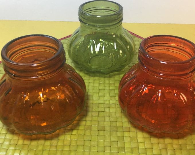 Vintage Mini Melon Jars (3), Glass Melon Canisters, Apothecary Jars No Lids, Colorful Curio Storage ,Green Ribbed Mini Jars, Kitchen Storage