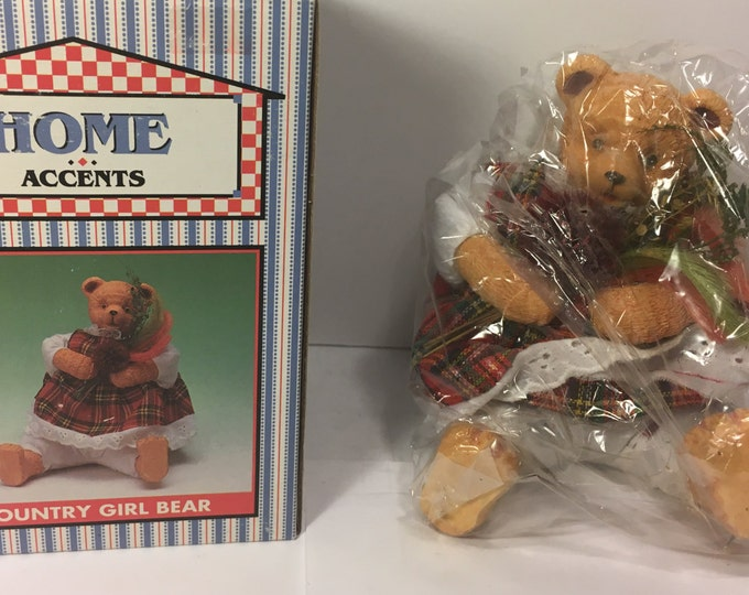 Vintage Country Girl Bear, Teddy Bear Toy, Red Plaid Dress Home Accents By World Bazaar Item 48331 Made in China