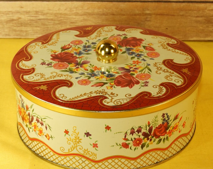 Vintage Daher Tin, Red Floral Wave Container Tin, Decorative Gold Knob Tin w/Lid, Daher Design Long Island NY 11101, Made in England