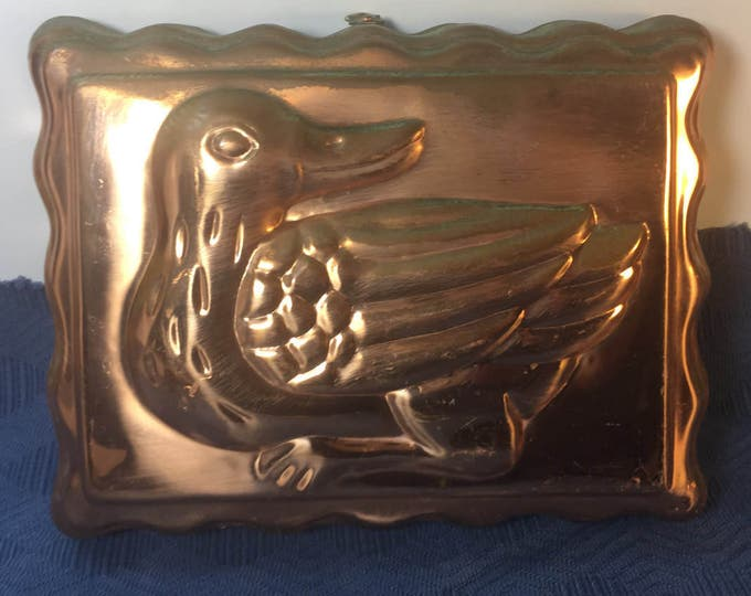 Vintage Copper Duck Mold, Goose Jello Mold, Wall Hanging Duck Mold w/Natural Green Patina, Wall Hanging Kitchen Decor, Oriental Duck Decor