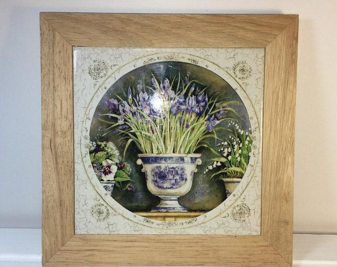 Vintage Kathryn Decorative Floral Trivet, Wood Framed Floral Ceramic Decor, White Blue w/Purple Flowers Trivet, Floral Potholder, Pot Holder