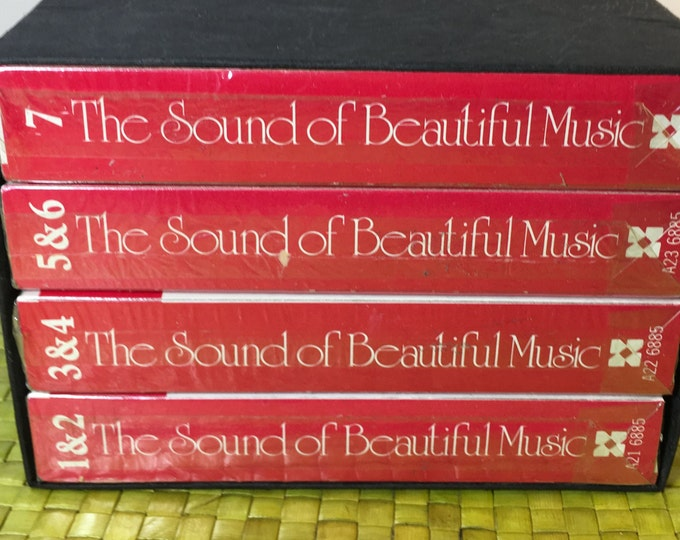 Vintage Columbia House 4 Tape Set The Sound of Beautiful Music, 8-Track Stereo Tape Cartridges, Red Cartridges