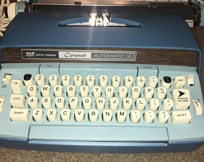 Vintage Blue 1960's Retro Smith Corona Blue Light Blue Automatic 12 Typewriter, Multi Function Typewriter w/Case, Baby Blue Office Decor