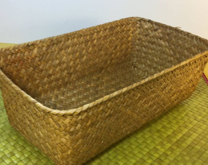 Vintage Tight Woven Basket, Brown Wood Weave X Pattern Vanity Storage Basket, Dresser Basket, Catchall Knick Knack Basket, Decorative Basket