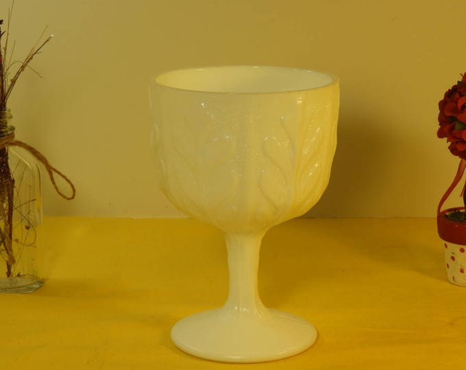 Vintage 1975 Milk Glass Chalice Compote Wine Glass,LTD 1975 White Candy Dish, Gritty Style Milk Glass Collectible,Oak Leaf White Glass