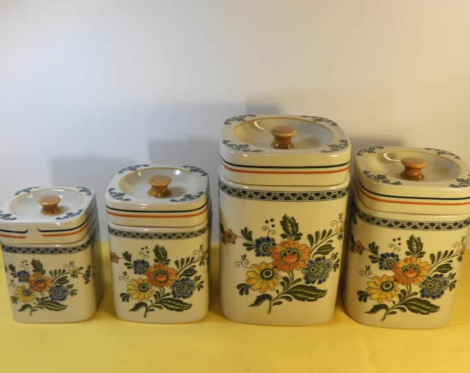 Vintage Stoneware Canister Set (4), Yellow Green Daeware, Decorative Kitchen Canisters, Korea Kitchen Storage, Square Ceramic Jars