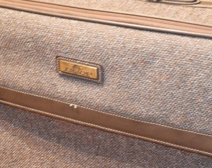 Vintage Tweed Jordache Suitcase,Brown Violet Interior Rolling Luggage,Designer Bag Clothing Storage Container,Sew Craft Example Leather Look