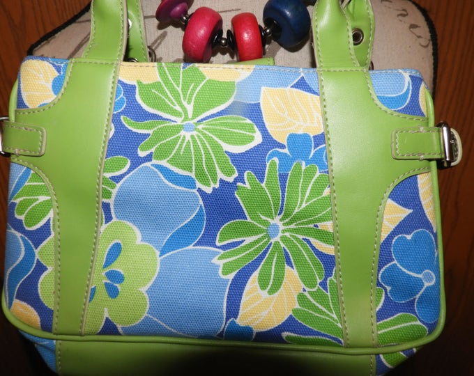 Vintage St. Johns Bay Green Blue Floral Top Handle Bag, Blue Lily Hand Bag, Canvas Leather Purse,100% Cotton PVC Trim Bag, Made in China