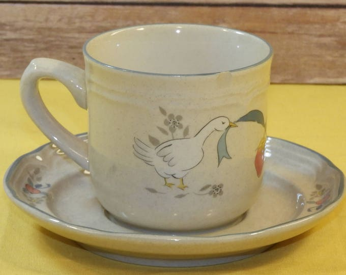 Vintage International Stoneware Cup & Saucer, Ceramic Tea Mug and Plate, Intl China Marmalade,Decorative Duck Goose Dining Room Kitchen