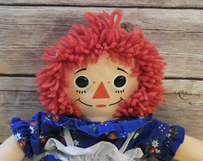 "Vintage Raggedy Ann Toy Doll, Johnny Gruelle 1996 Hasbro Collectible Toy, Red Blue White 12"" Tall, Decorative Childrens Bedroom, Gift Idea"