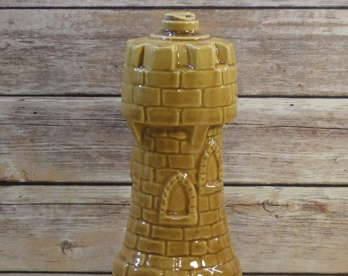 Vintage Castle Decanter, Old Crow Ceramic Bottle, Limited Chessmen Decanter, Decorative Gold Barware, 1960's Collectible Decanter