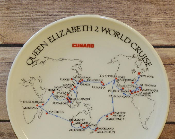 Vintage Cruise Souvenir Plate,White Queen Elizabeth 2 Jan 13 - Apr 29, 1988,Cunard Los Angeles to Japan Asia,Rosen Thal Studio Lini, Germany