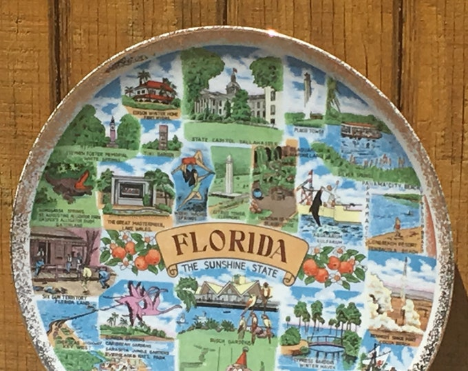 Vintage Florida Collectible, Sunshine State Souvenir Plate, Ceramic Arts Display Plate, Round Wall Decor, Wall Hanging Art