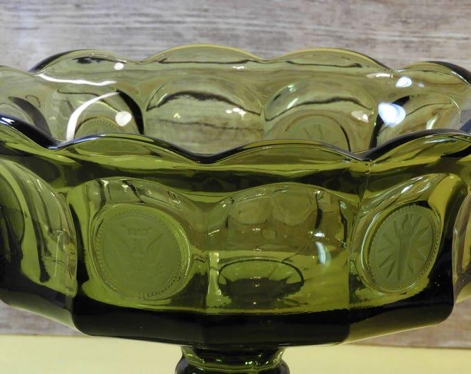 Vintage Fostoria Green Glass Souvenir Compote,Heavy Glass Pedestal 1887 Collectible Eagle Coin Dish,Wavy Scallop Rim Glass Art Candy Bowl