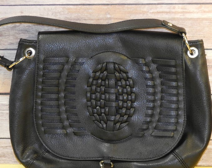 Vintage Dolce Vita Bag, Black Faux Leather Handbag, Woven Front Messenger Purse, Gold Trim Black Tassel Bag, Vinyl Polyester Bag