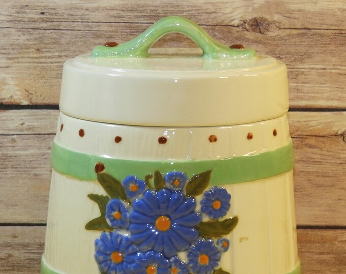 Vintage Barrel Canister Cookie Jar, White Ceramic Storage Container, Decorative Kitchen Gift, Wood Grain Barrel Theme Blue Flowers Green